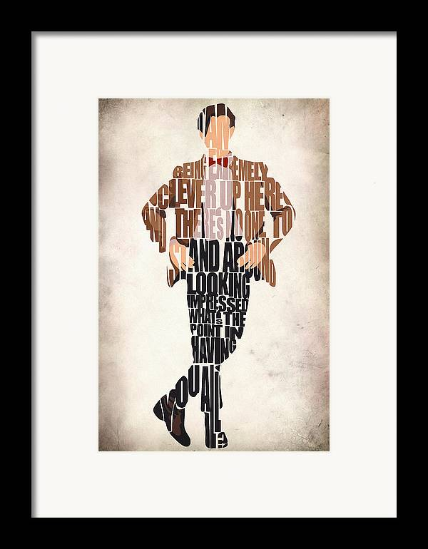 Eleventh Doctor Framed Print featuring the drawing Eleventh Doctor - Doctor Who by Ayse Deniz