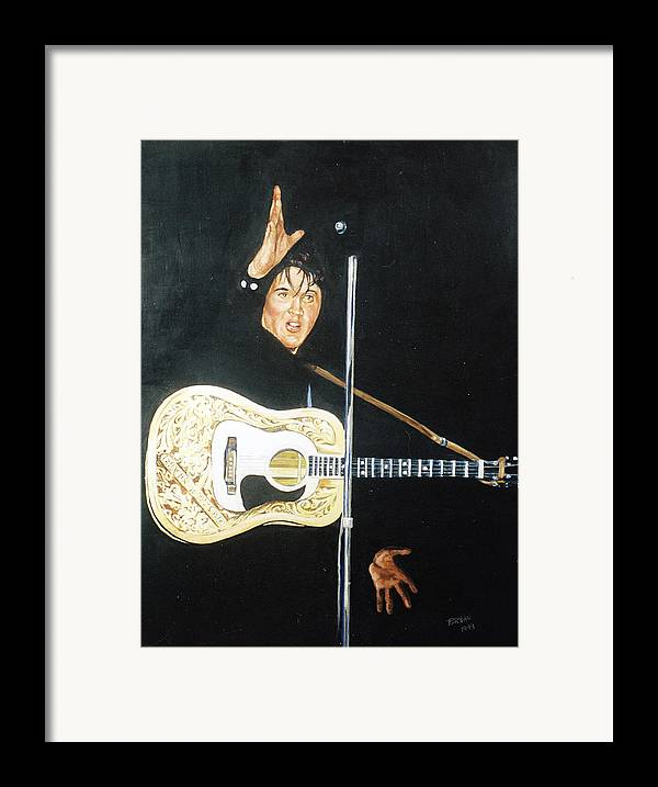 Elvis Presley Framed Print featuring the painting Elvis 1956 by Bryan Bustard