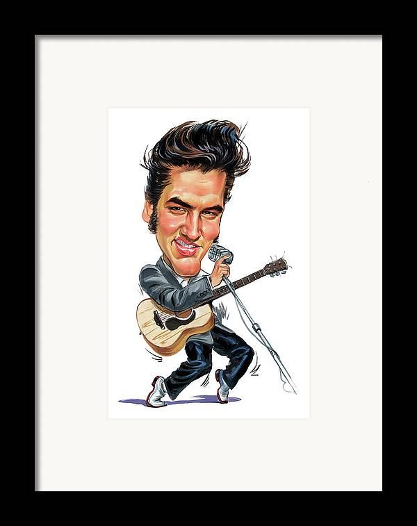 Elvis Presley Framed Print featuring the painting Elvis Presley by Art