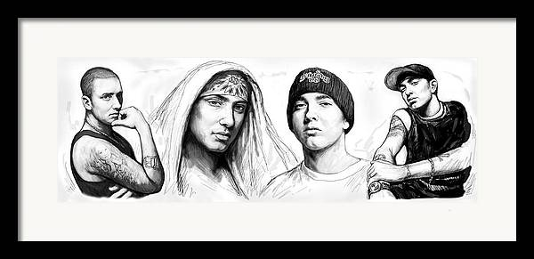 Eminem Art Drawing Sketch Poster Framed Print featuring the painting Eminem Art Drawing Sketch Poster by Kim Wang