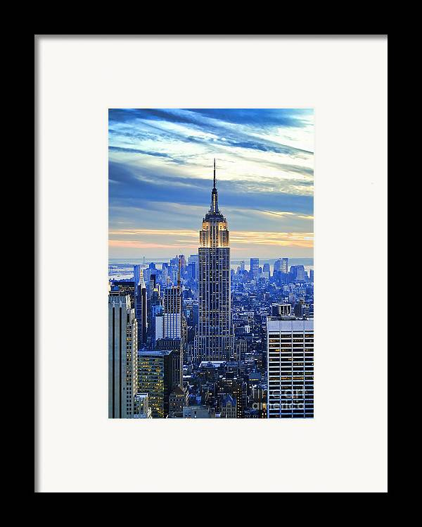 New York City Framed Print featuring the photograph Empire State Building New York City Usa by Sabine Jacobs