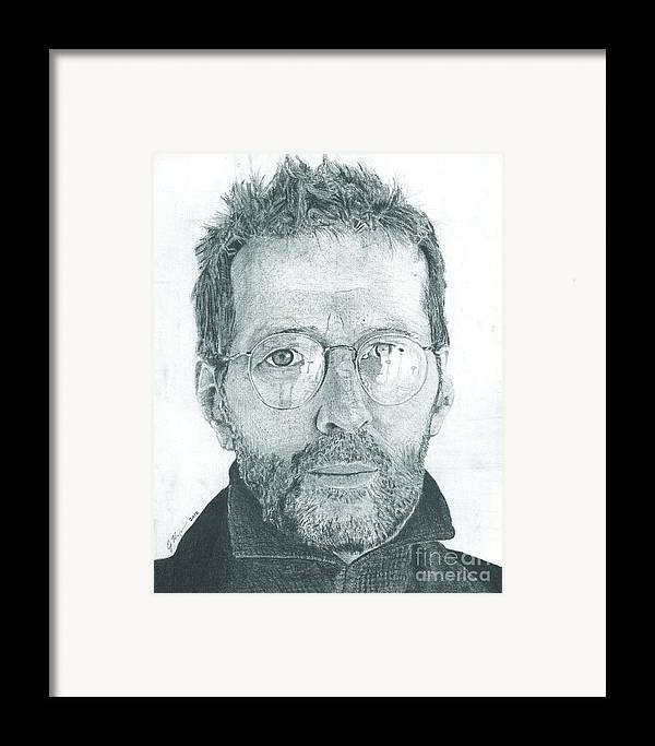 Eric Clapton Legendary Guitar Player Songwriter Slowhand Derek And The Dominoes Cream Framed Print featuring the drawing Eric Clapton by Jeff Ridlen