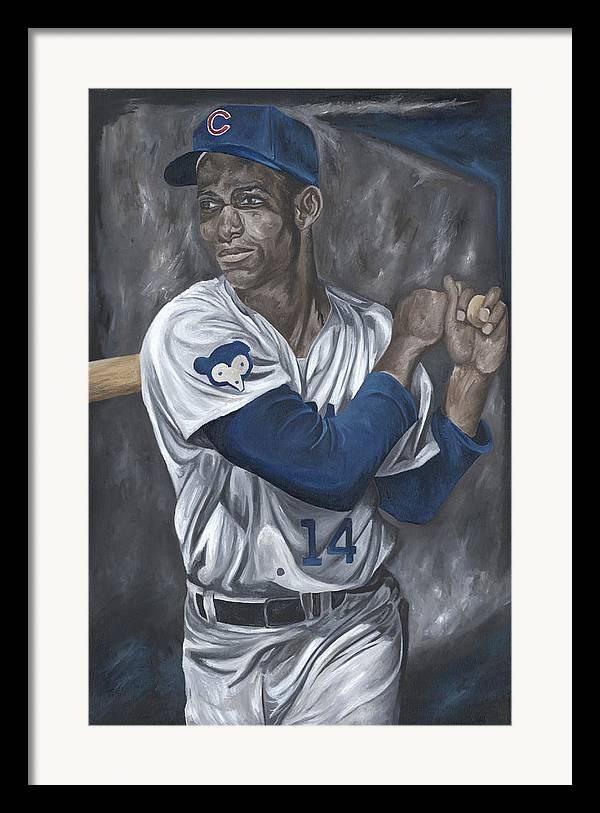 Chicago Cubs Ernie Banks Baseball Mlb Batter Batting David Courson Sports Art Painting Framed Print featuring the painting Ernie Banks by David Courson