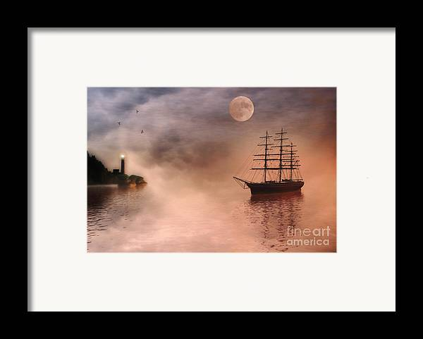 Sailing Ship Framed Print featuring the painting Evening Mists by John Edwards