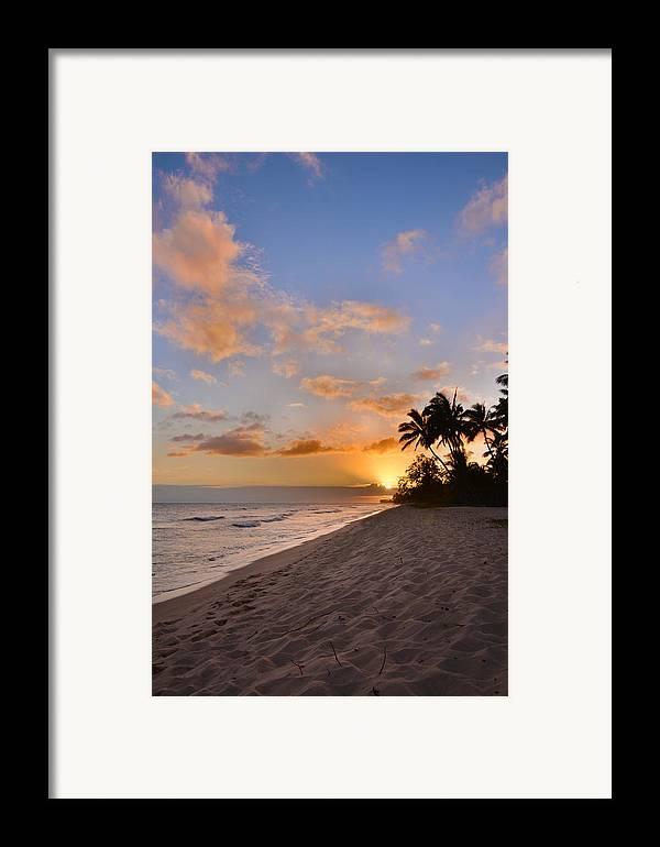 Ewa Beach State Park Palm Tree Sunset Oahu Hawaii Hi Framed Print featuring the photograph Ewa Beach Sunset 2 - Oahu Hawaii by Brian Harig