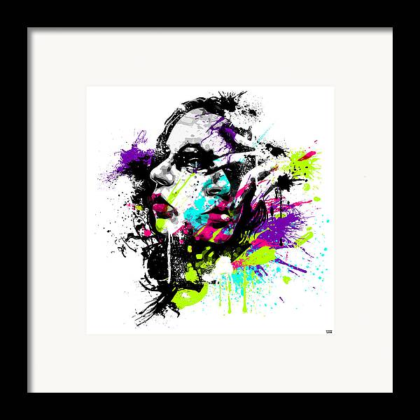 Female Framed Print featuring the digital art Face Paint 1 by Jeremy Scott