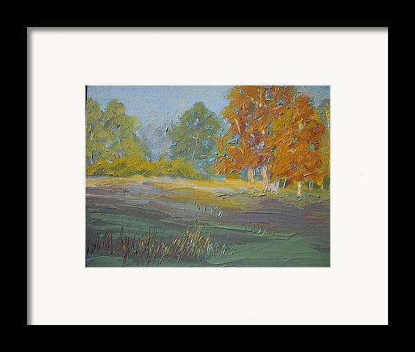 Landscape Framed Print featuring the painting Fall Field by Dwayne Gresham