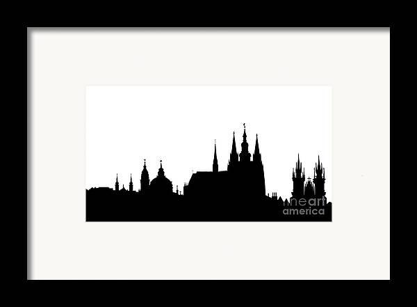 Hradcany Framed Print featuring the digital art famous landmarks of Prague by Michal Boubin