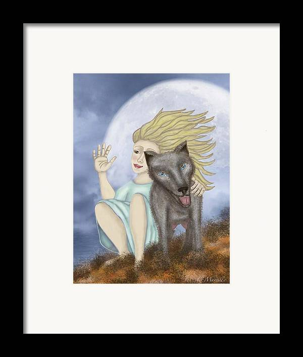 Full Moon Framed Print featuring the painting Farewell The Journey Begins by Linda Marcille