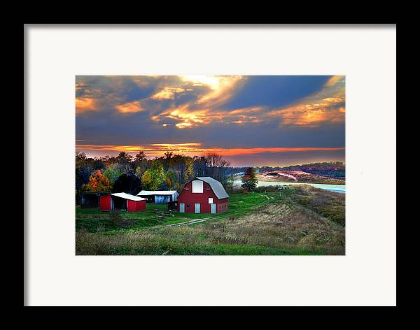 Farms Framed Print featuring the photograph Farmstead At Sunset by Julie Dant