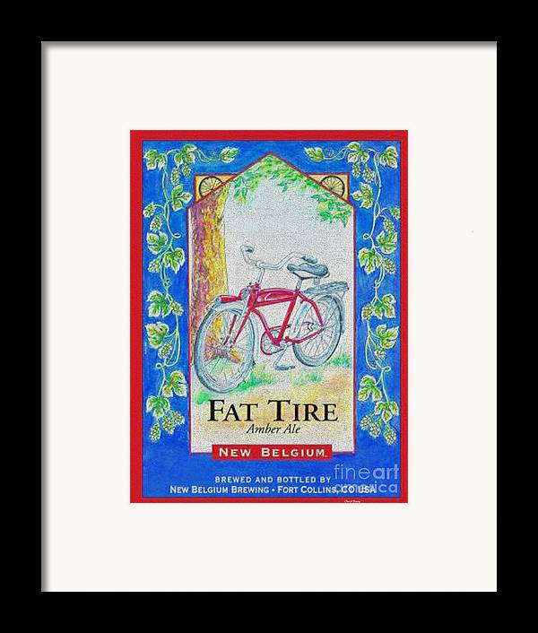 Fat Tire Framed Print featuring the digital art Fat Tire by Cheryl Young