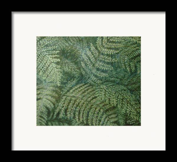 Pastel Framed Print featuring the pastel Fern Frenzy by Joann Renner