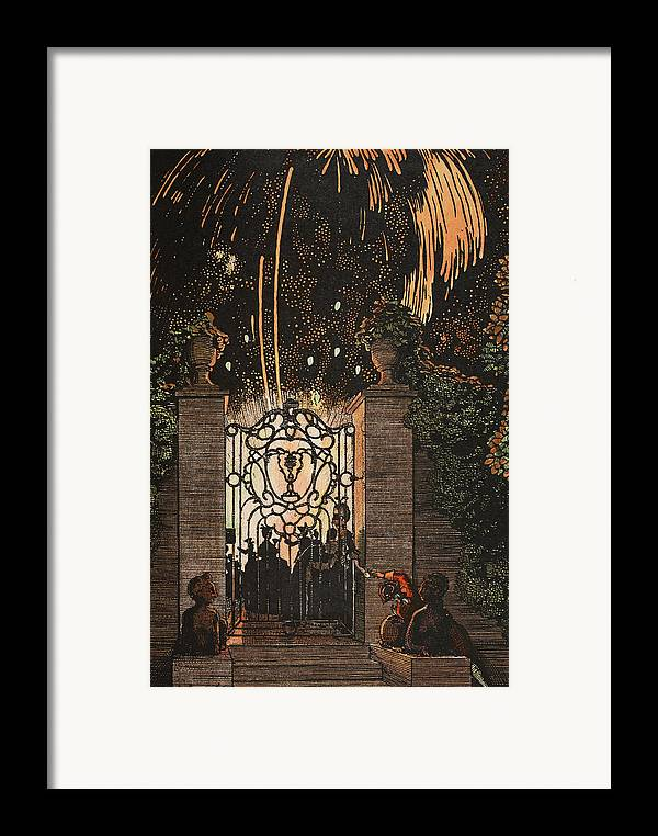 Somov Framed Print featuring the painting Feu D Artifice by Konstantin Andreevic Somov
