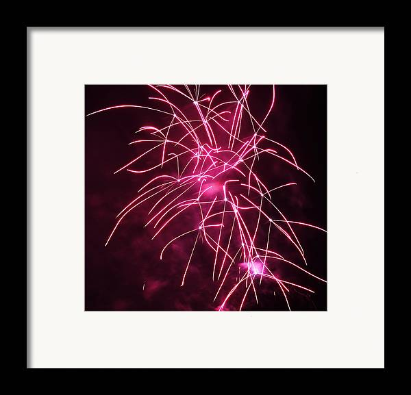 Night Framed Print featuring the photograph Rockets Red Glare Fireworks by Howard Tenke