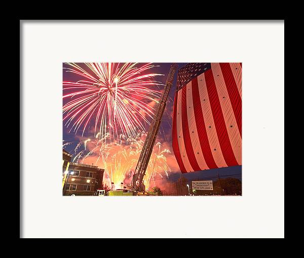 4th Framed Print featuring the photograph Fireworks by Jim DeLillo