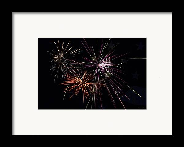 Fireworks Framed Print featuring the photograph Fireworks With Pride by Christina Rollo