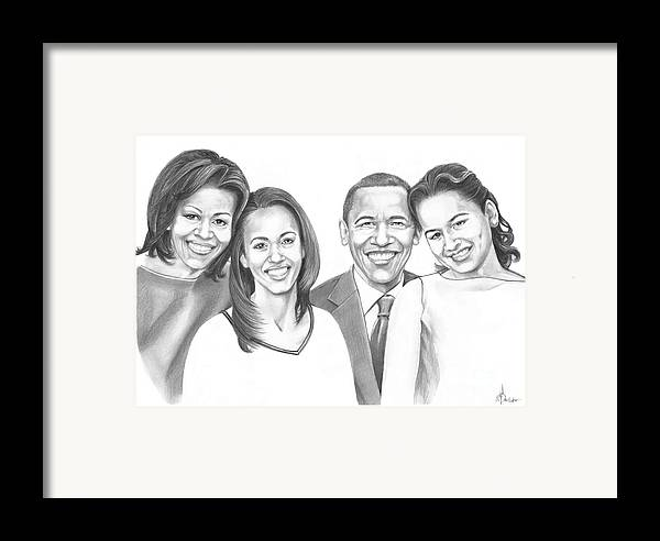 Barrack Framed Print featuring the drawing First-family 2013 by Murphy Elliott