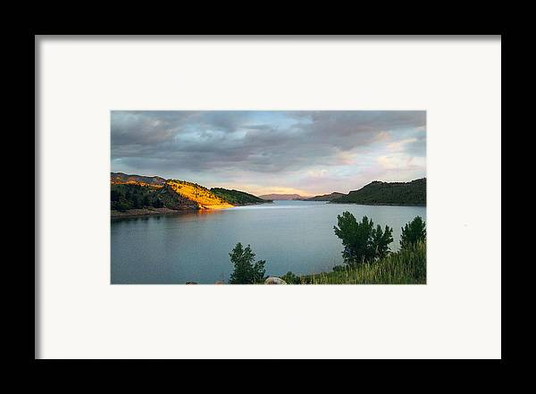 Horsetooth Reservoir Framed Print featuring the photograph First Light by Ric Soulen