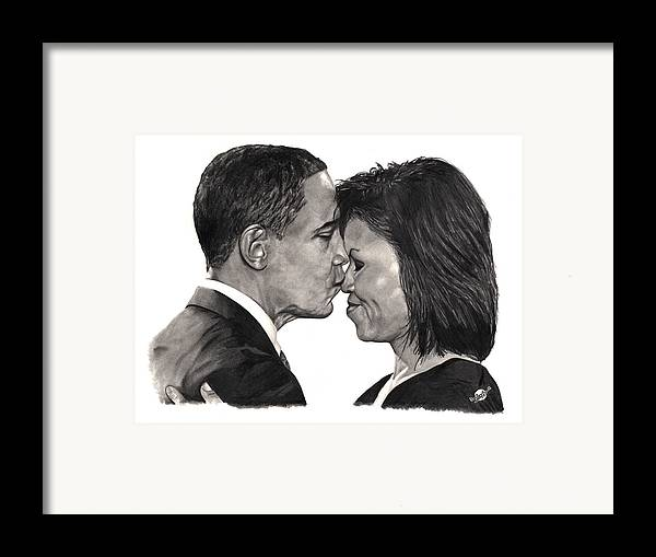 Obama Framed Print featuring the drawing First Order Of Business by Brian Wylie