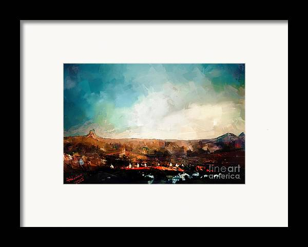 Arizona Framed Print featuring the digital art First Sun by Arne Hansen