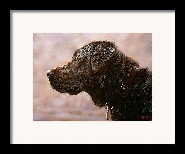 Lab Framed Print featuring the painting Fixed Gaze by John Silver
