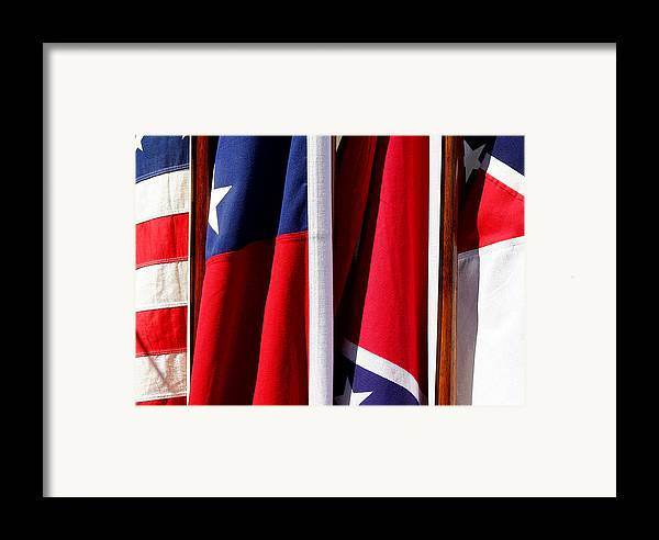 Flag Framed Print featuring the photograph Flags Of The North And South by Joe Kozlowski