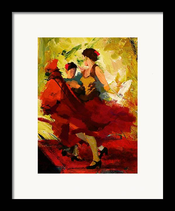 Jazz Framed Print featuring the painting Flamenco Dancer 019 by Catf