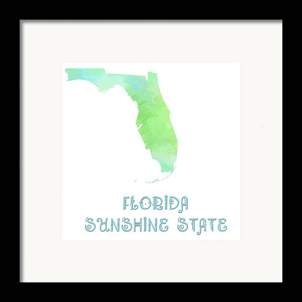 Andee Design Framed Print featuring the digital art Florida - Sunshine State - Map - State Phrase - Geology by Andee Design