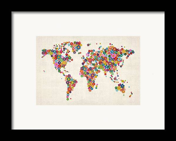 World Map Framed Print featuring the digital art Flowers Map Of The World Map by Michael Tompsett