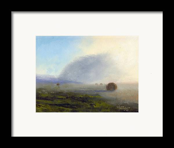 Haybales Framed Print featuring the painting Foggy Bales by Tommy Thompson