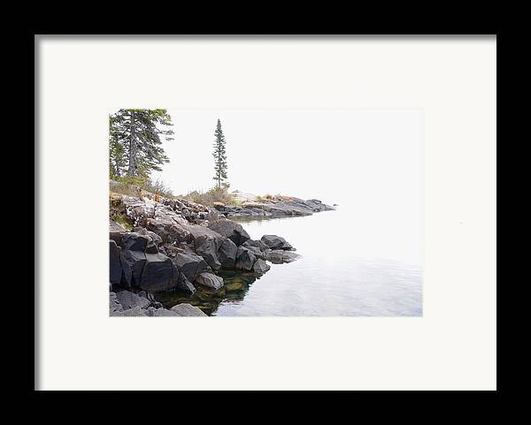 Lake Superior Scene Framed Print featuring the photograph Foggy Day On Lake Superior by Sandra Updyke