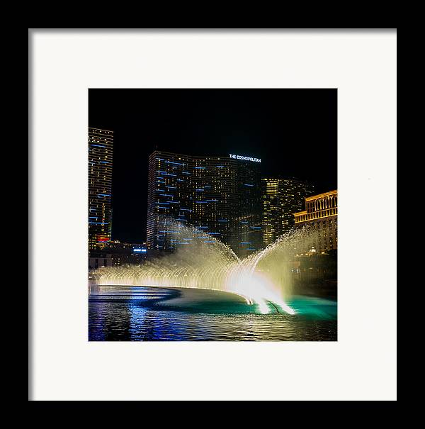 Bellagio Framed Print featuring the pyrography Fountain Spray by Zachary Cox
