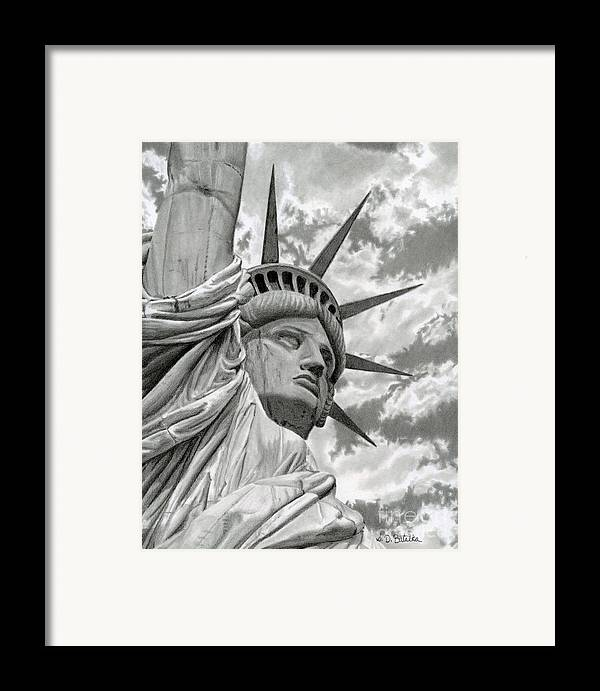 Statue Of Liberty Framed Print featuring the drawing Freedom by Sarah Batalka