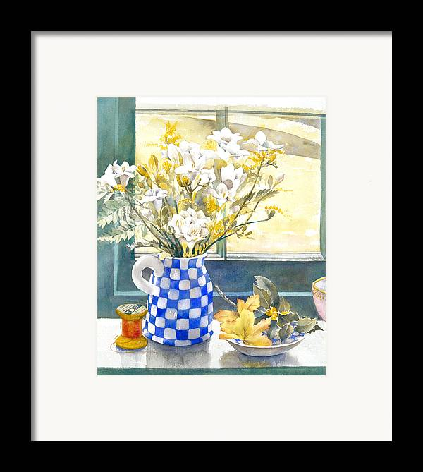 Julia Rowntree Framed Print featuring the photograph Freesias And Chequered Jug by Julia Rowntree