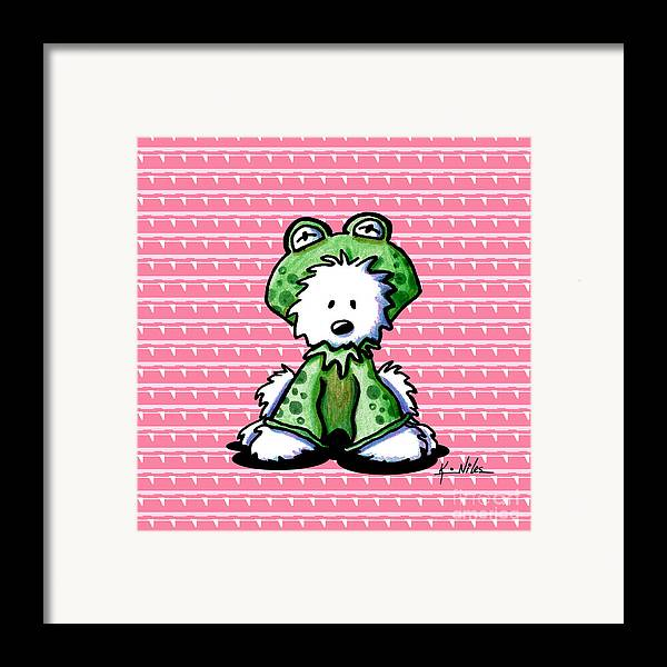 Westie Terrier Framed Print featuring the drawing Frog Prince Westie Dog by Kim Niles