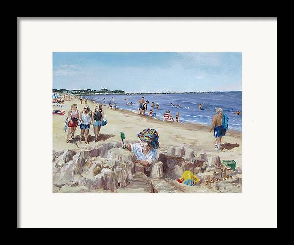 Beach Framed Print featuring the painting From Sandcastles To College by Jack Skinner