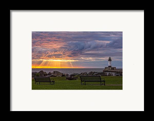 front Row Seats lake Superior canal Park canal Park Lighthouse duluth north Shore Sunrise Dawn Rays god Rays Clouds Benches Lighthouse great Lake Sunset Sunrays Magic Nature Summer perfect Duluth Day mary Amerman Framed Print featuring the photograph Front Row Seats by Mary Amerman