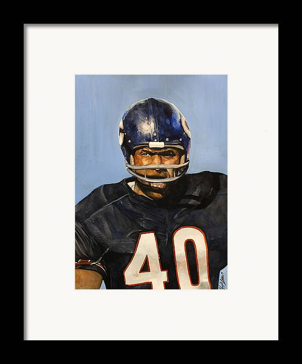 Gale Sayers Framed Print featuring the painting Gale Sayers by Michael Pattison