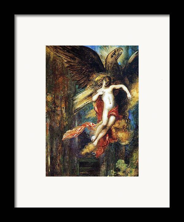Jupiter; Bird; Taken; Abduction; Mythology; Mythological; Male; Youth; Youthful; Young; Wings; Winged; Kidnapping; Kidnap; Transformation; Metamorphosis; Greek Myth; Abduct; Flight; Flying; Nude; God; Deity; Landscape; Dog; Carrying Framed Print featuring the painting Ganymede by Gustave Moreau