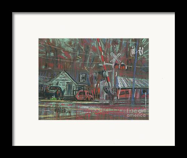 Railroad Framed Print featuring the painting Gated Crossing by Donald Maier