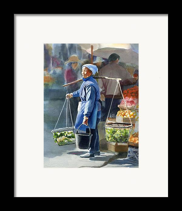 Chinese Framed Print featuring the painting Gathering Greens by Sharon Freeman