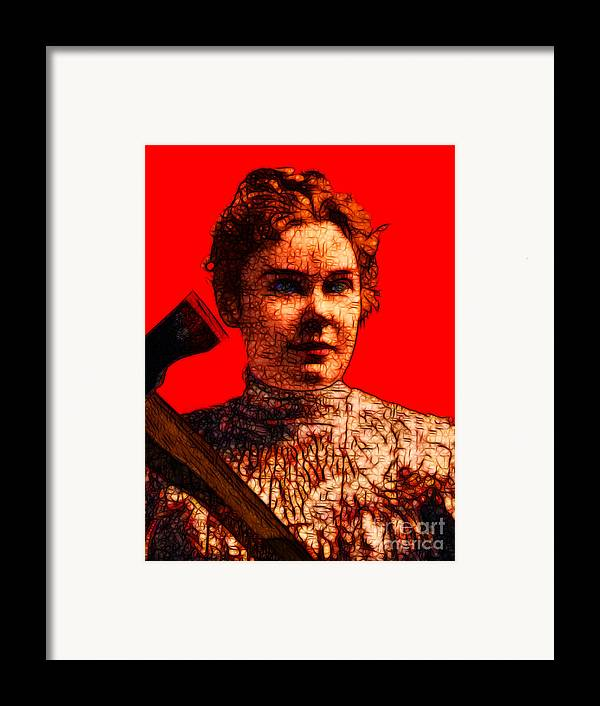 Lizzie Bordon Framed Print featuring the photograph Gave Her Father Forty Whacks - Red by Wingsdomain Art and Photography