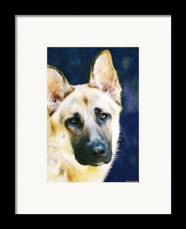 German Shepherd Framed Print featuring the painting German Shepherd - Soul by Sharon Cummings