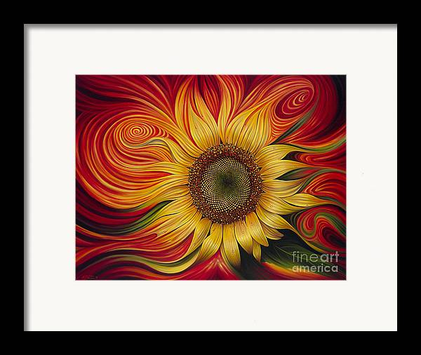 Sunflower Framed Print featuring the painting Girasol Dinamico by Ricardo Chavez-Mendez