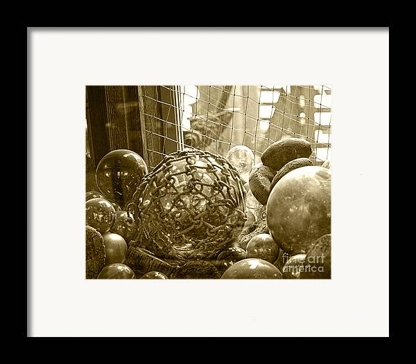 Ocean Floats Framed Print featuring the photograph Glass Balls Japanese Glass Buoys by Artist and Photographer Laura Wrede