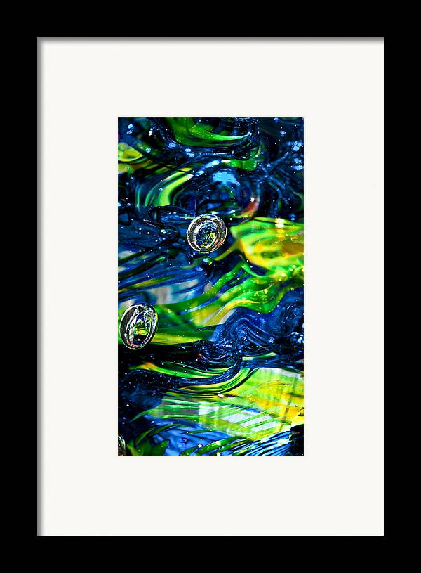 Seattle Seahawks Framed Print featuring the photograph Glass Macro - Seahawks Blue And Green -13e4 by David Patterson