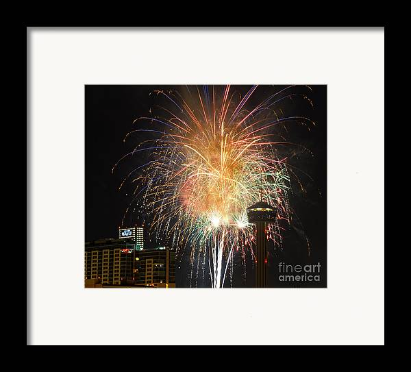 Fireworks Framed Print featuring the photograph Glitter In The Sky by Cathy Alba