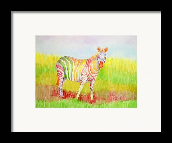 Zebra Framed Print featuring the painting Glory by Rhonda Leonard