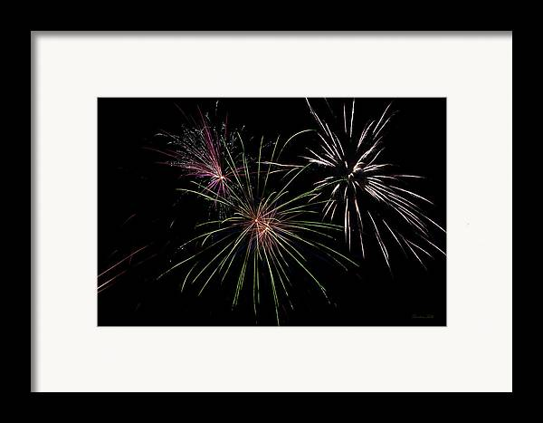 Fireworks Framed Print featuring the photograph God Bless America Fireworks by Christina Rollo