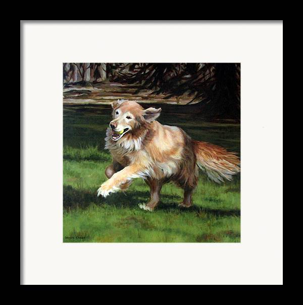 Dog Framed Print featuring the painting Golden Days by Sandra Chase